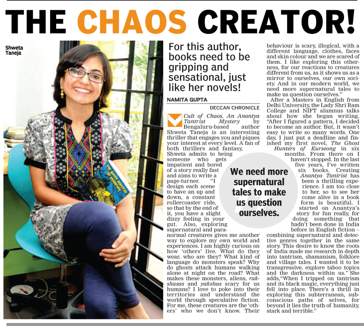 Interview in Deccan Chronicle